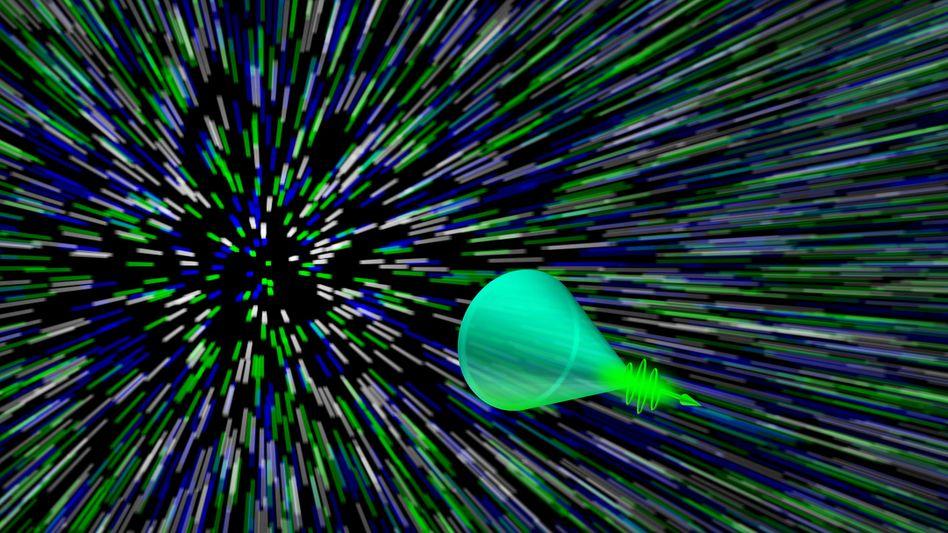 Ein Lichtpuls mit Mach-Kegel (Illustration)