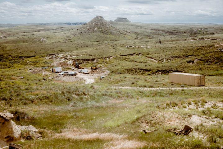 Landschaft in Wyoming, in der seit vielen Jahrzehnten nach Dinosaurierknochen gesucht wird