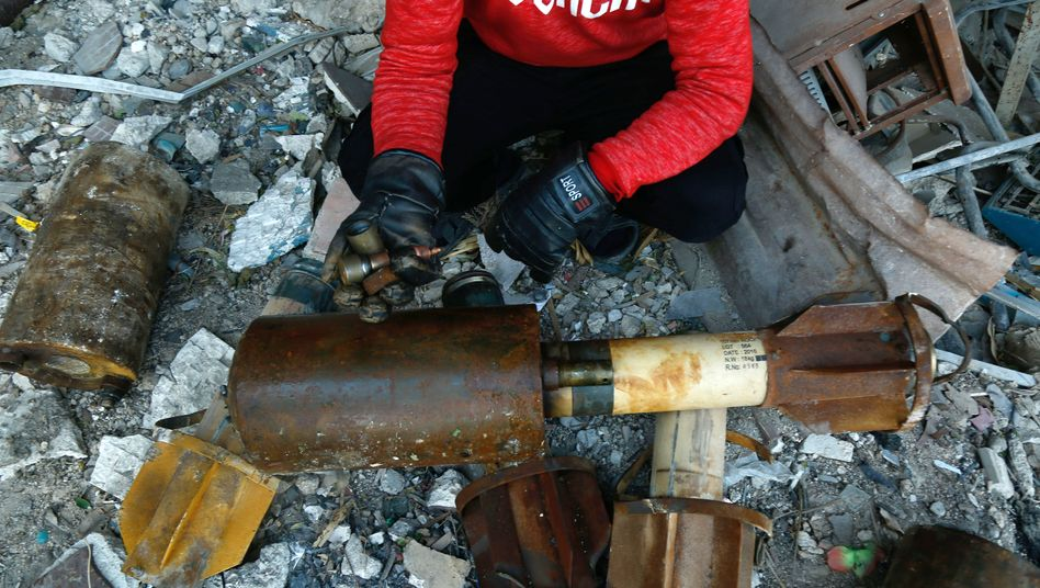 Raketenteile in Goutha, einer Rebellenprovinz außerhalb von Damaskus, Syrien