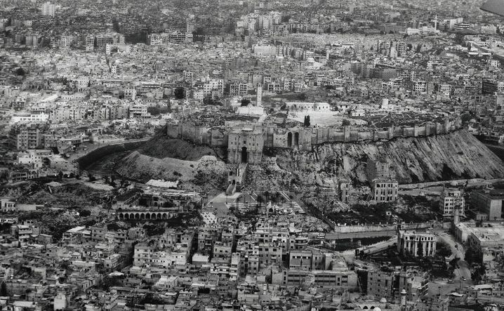 An aerial image of the destruction in Aleppo