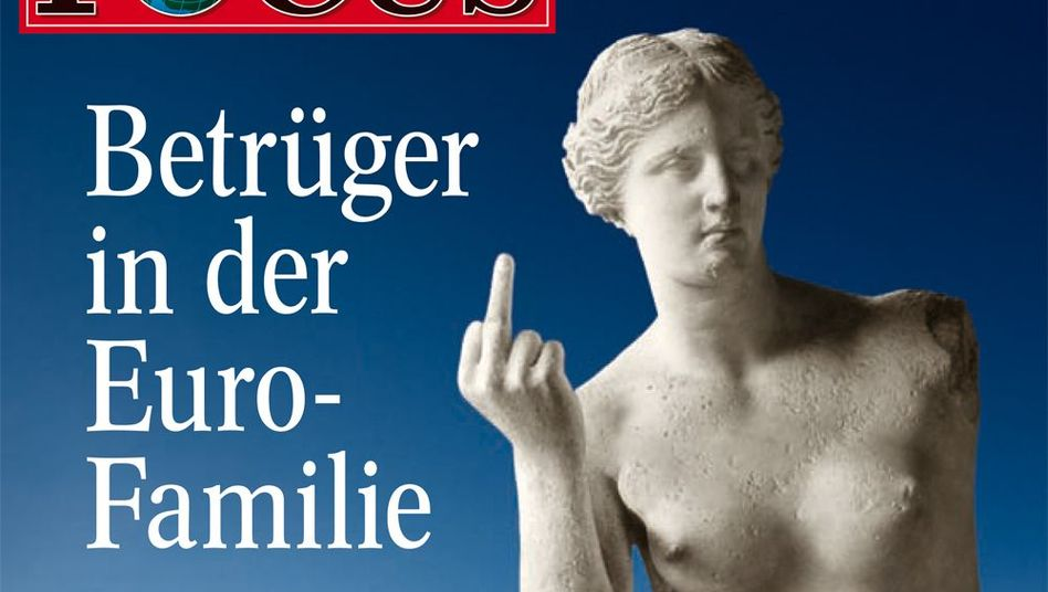 """Swindlers in the euro family:"" A cheeky cover has come back to haunt Germany's Focus magazine."