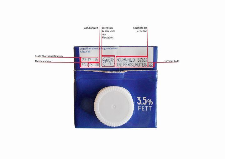 Milchverpackung mit Herstellerinformationen