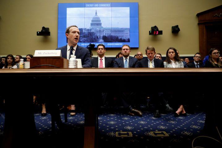 Mark Zuckerberg am 11. April 2018 bei seiner Aussage vor einem Kongressausschuss