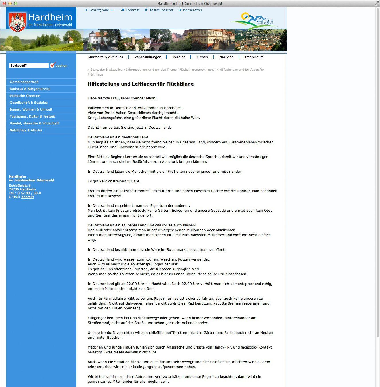 EINMALIGE VERWENDUNG SCREENSHOT Gemeinde Hardheim