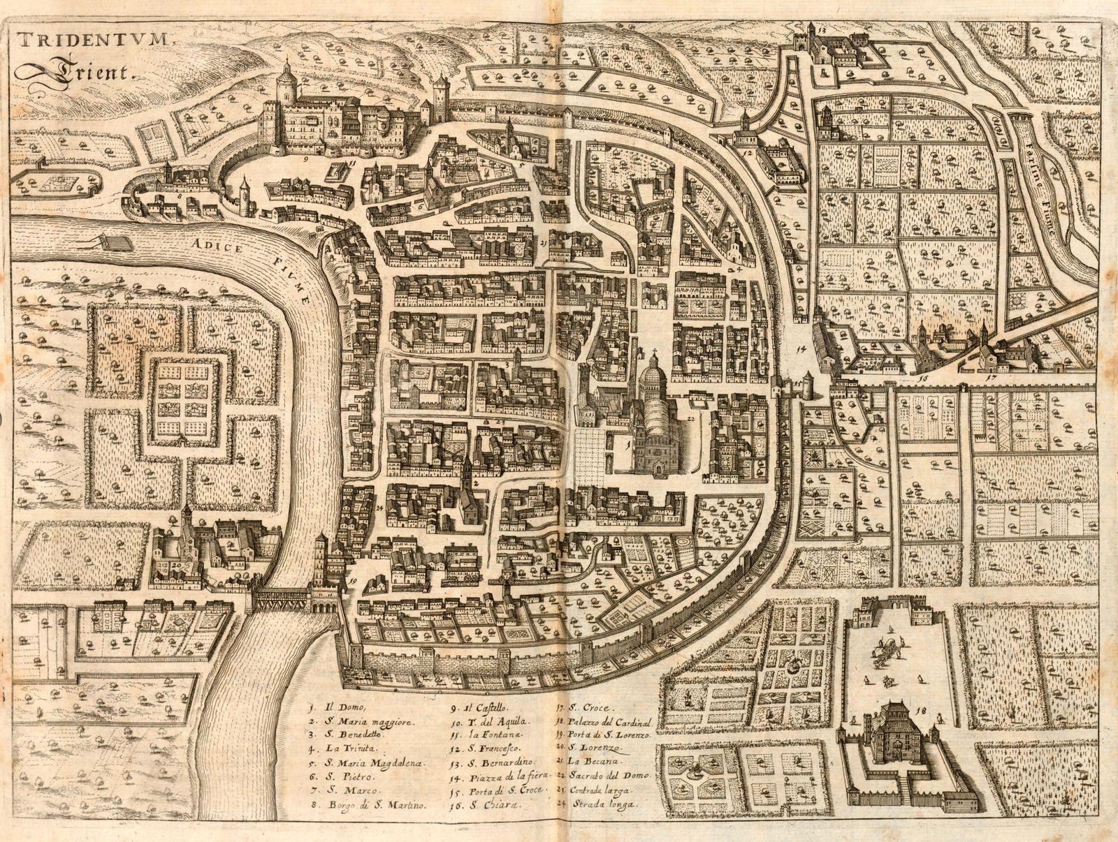 Trento. trient, Map of Trento (Italy), Fig. 11, p. 58, 1640, Martin Zeiller: Itinerarium Italiae nov-antiquae oder Raiss