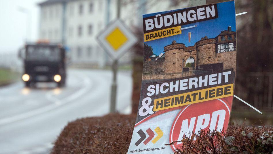NPD-Wahlplakat in Büdingen