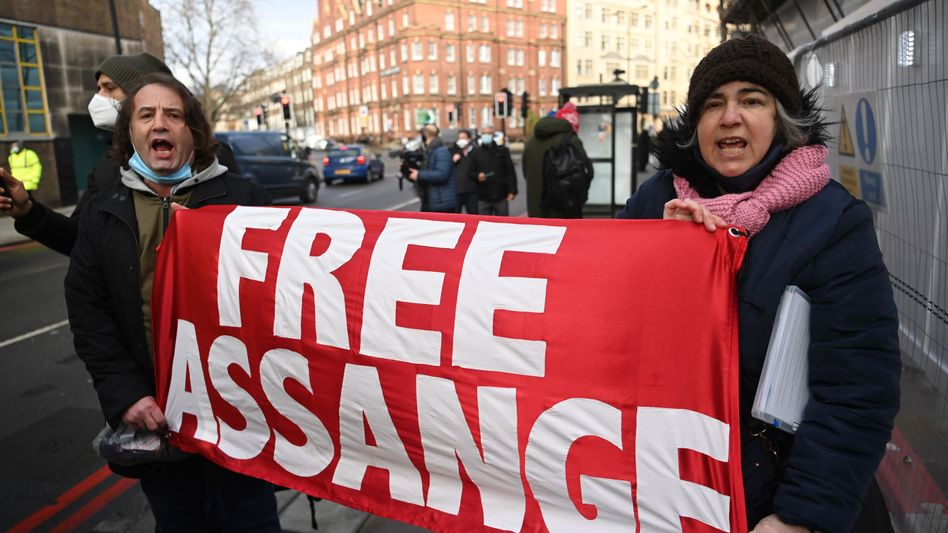 Protest für Assange in London, Januar 2021