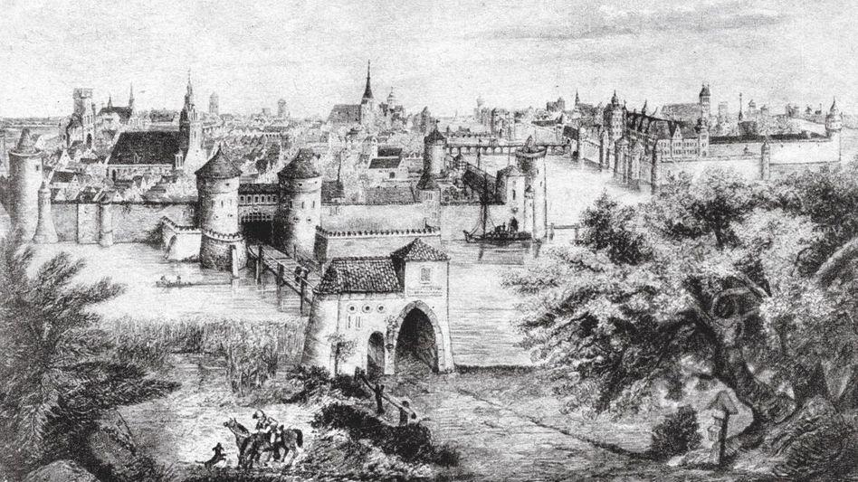 Historische Ansicht von Berlin und Cölln (Stich um 1500): Man war sich in wechselseitigem Misstrauen zugetan