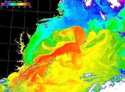 Wärmebild des Golfstroms vor der US-Ostküste (schwarz): Die Wärmepumpe verliert an Leistung