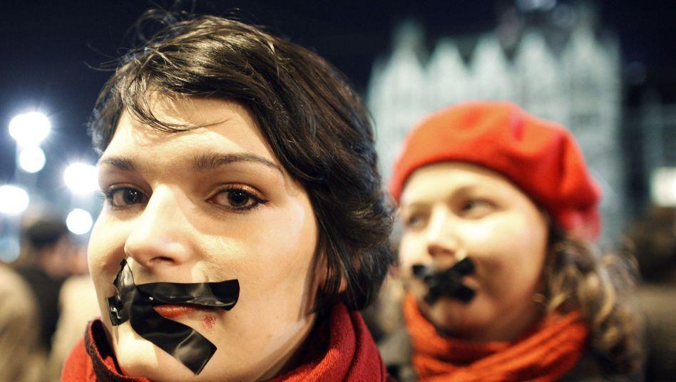 Ungarn: Proteste gegen Mediengesetz (Januar 2014)