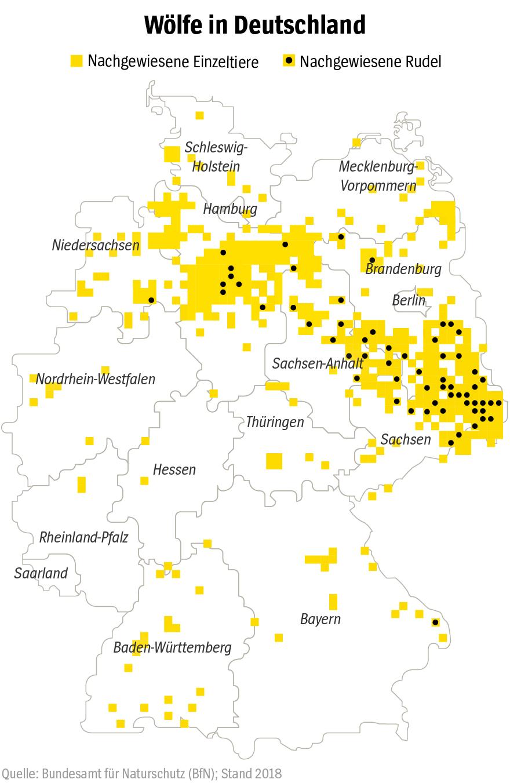 Grafik - Wölfe in Deutschland - Bestand 2017/2018