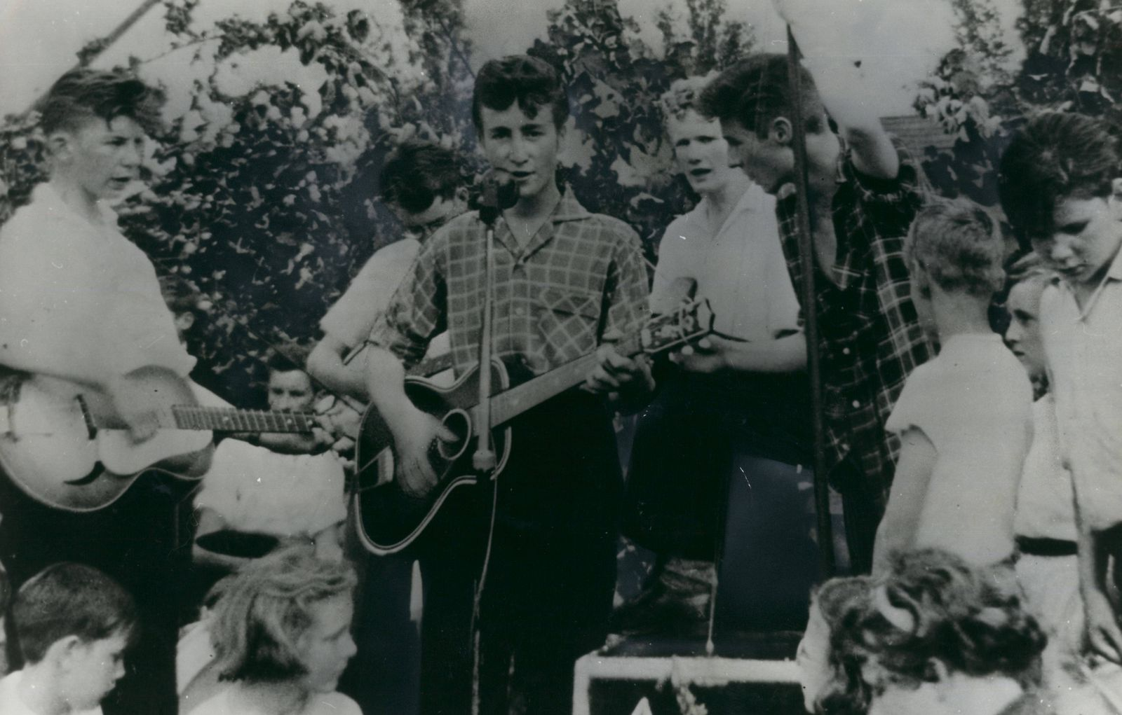 Jan 1 1950 Before he was a Beatle John was a Cuarryman here are the Cuarrymen playing at their