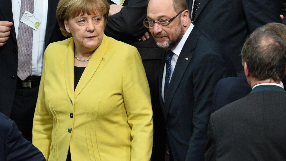 Angela Merkel, Martin Schulz (im Februar 2017)