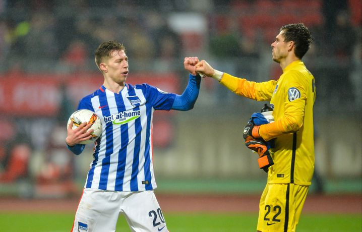 Hertha-Profis Weiser (l.), Keeper Jarstein: 34 Punkte