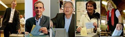 Spitzenkandidaten Buhlert (FDP), Roewekamp (CDU), Böhrnsen (SPD), Linnert (Grüne) und Erlanson (Linke)