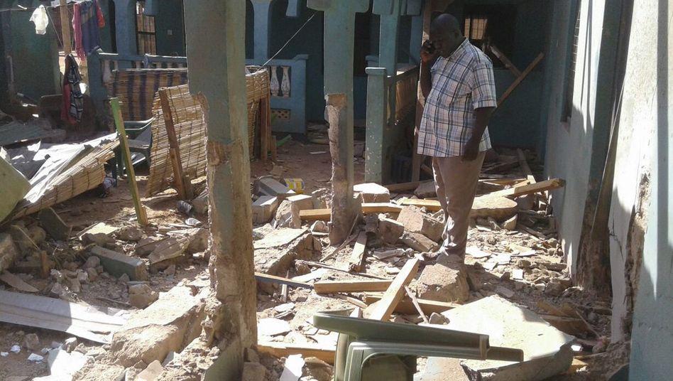 Zerstörtes Gästehaus in Mandera