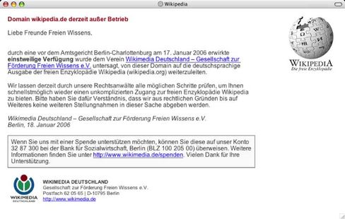 Wikipedia.de: Platzhalter statt Lexikon