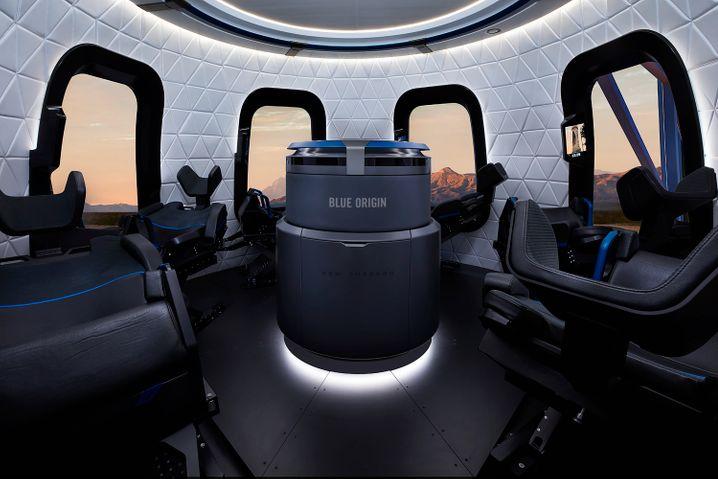 Innenraum einer Kapsel von Blue Origin (Archivbild)