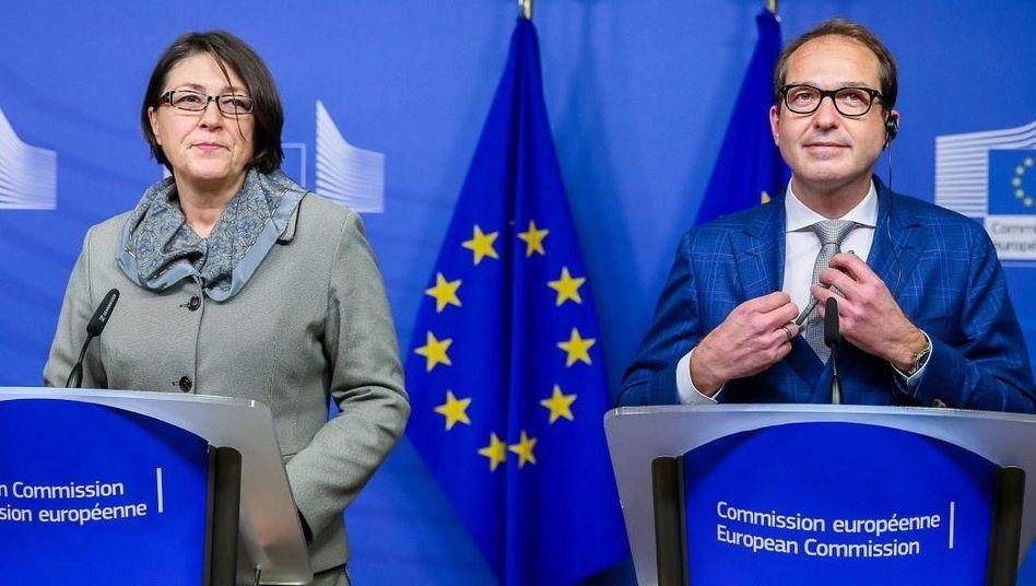 EU-Kommissarin Bulc, Verkehrsminister Dobrindt: Die grundsätzlichen Fragen bleiben