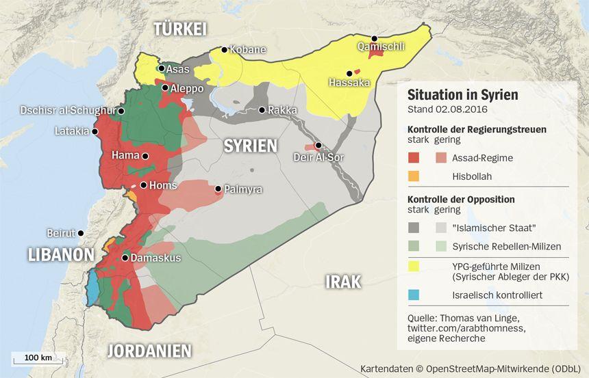 Grafik Karte Syrien - Stand 02-08-2016