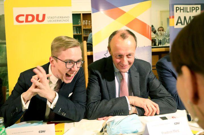 Amthor und Merz, beim Heringsessen der CDU in Ueckermünde