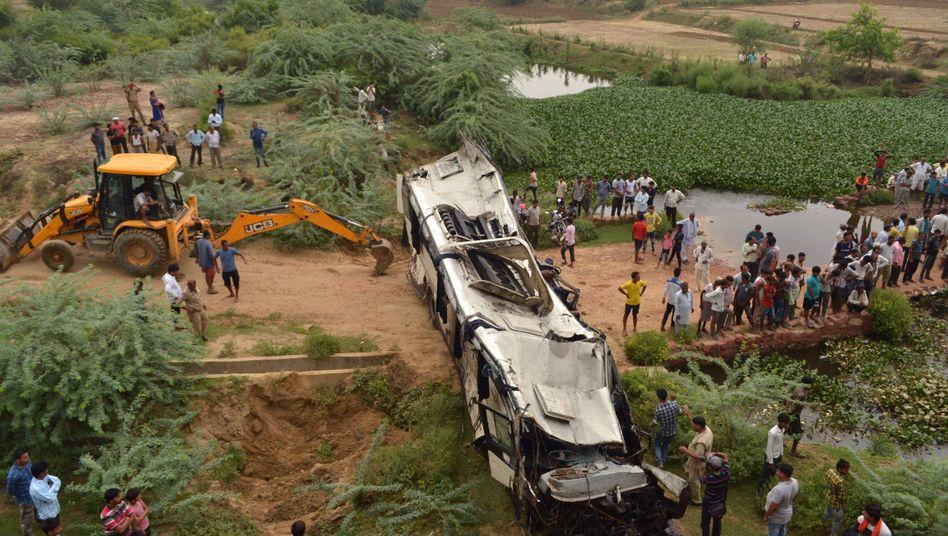 Tödliches Unglück in Indien: Unfallort im Distrikt Agra
