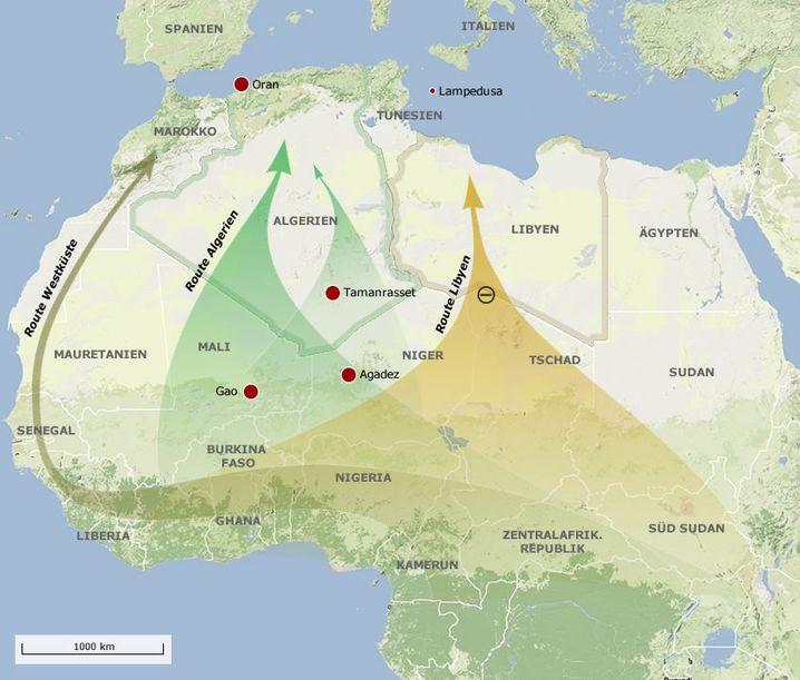 Auf drei Routen nach Europa: an der Westküste entlang, durch Algerien oder Libyen