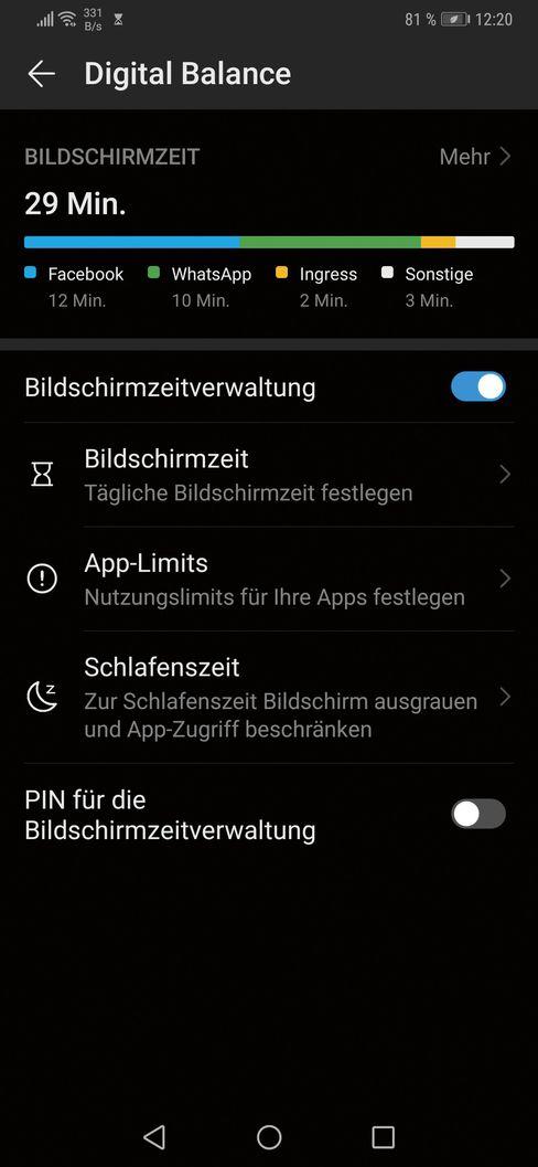 Das Dashboard von Huaweis Digital Balance zeigt, dass sich die Sperren per PIN sichern lassen.