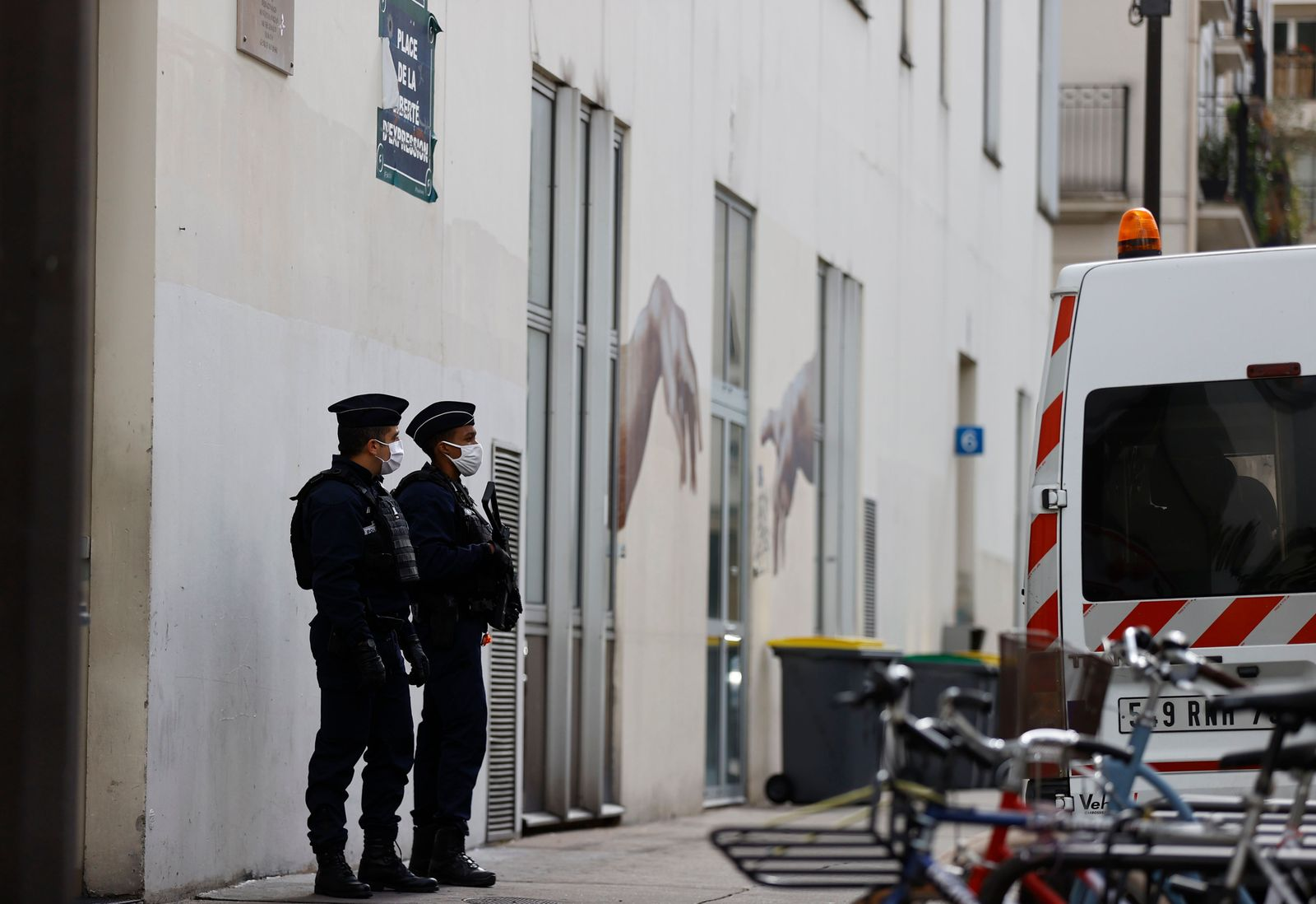 Knife attack near former Charlie Hebdo offices, Paris, France - 26 Sep 2020