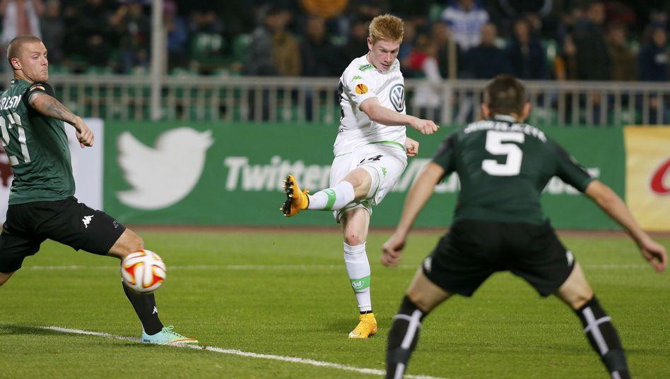 VfL Wolfsburgs Kevin De Bruyne (Mitte): Zwei Tore gegen Krasnodar