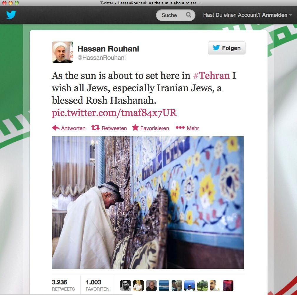 NUR ALS ZITAT Twitter / Hassan Rouhani