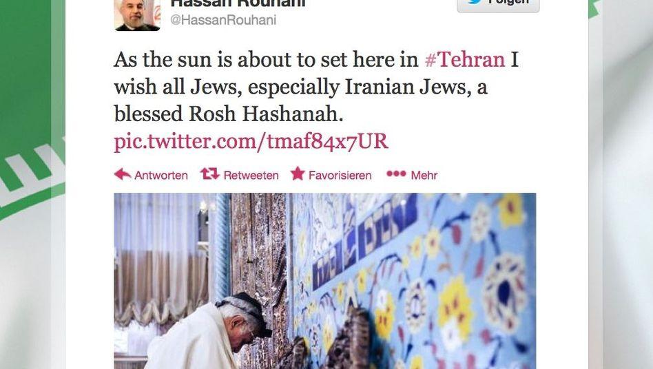 """Tweet von Rohani: """"Ein gesegnetes Rosch Haschana"""""""
