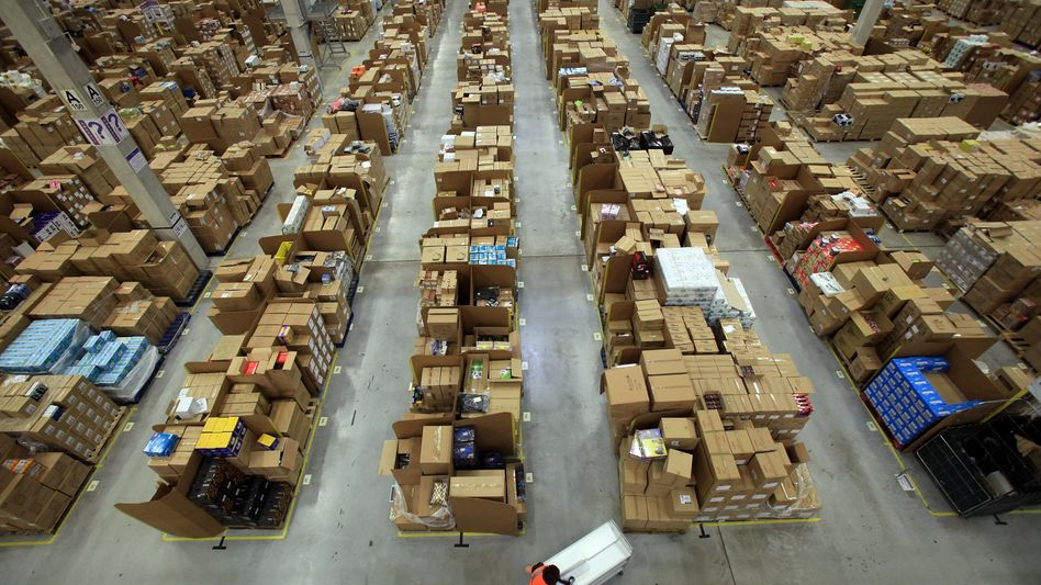 An Amazon logistics center. The German unit of Amazon is accused of cashing in on German employment subsidies.