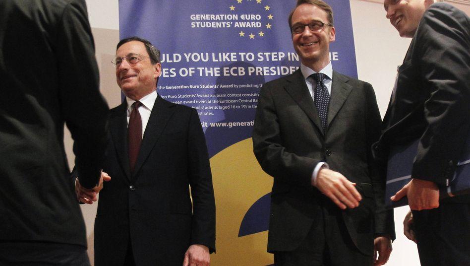 Euro-Zentralbanker Draghi, Weidmann: Wille, die Krise unbedingt zu beenden