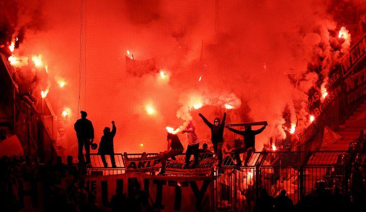 So sah es im Dortmunder Fanblock zu Beginn der zweiten Halbzeit aus.