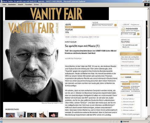"Screenshot der ""Vanity Fair""-Webseite: Nazi-Business as usual"