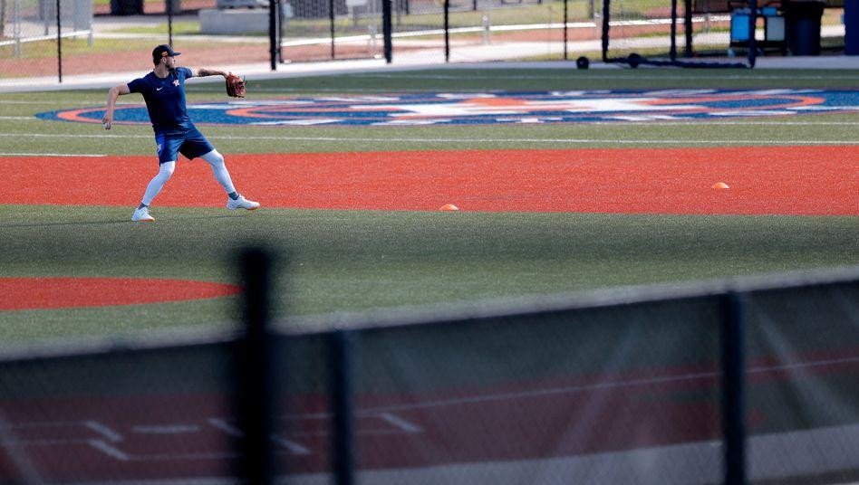 Baseballspieler Dean Deetz von den Houston Astros beim Training