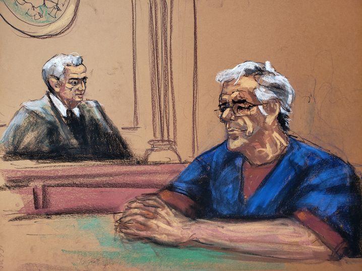 Zeichnung aus dem Gerichtssaal: Epstein vor Richter Berman