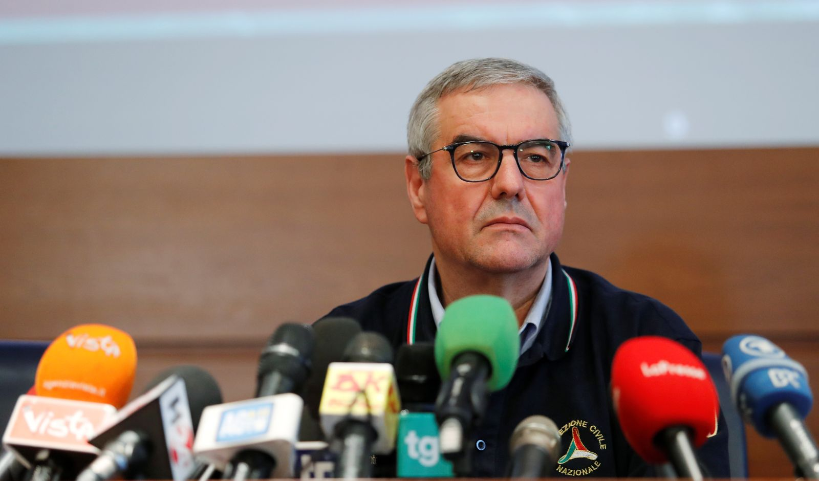 Chief of Italy's Civil Protection agency Angelo Borrelli gives an update to media on the new coronavirus outbreak, in Rome