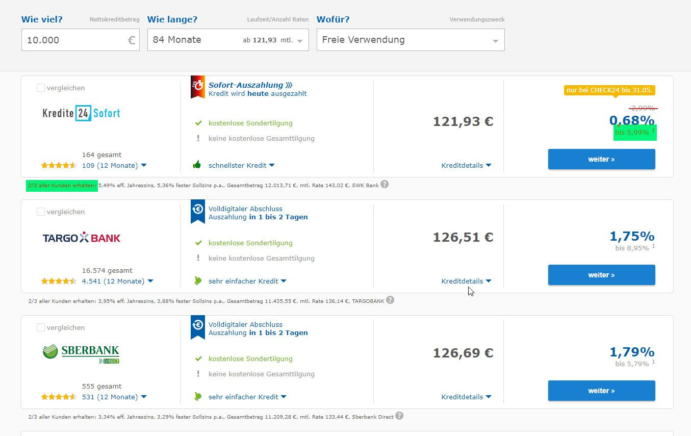 EINMALIGE VERWENDUNG Check24 Screenshot markiert