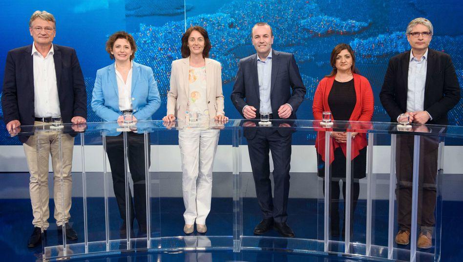 Die deutschen Spitzenkandidaten der im Bundestag vertretenen Parteien für die Europawahl