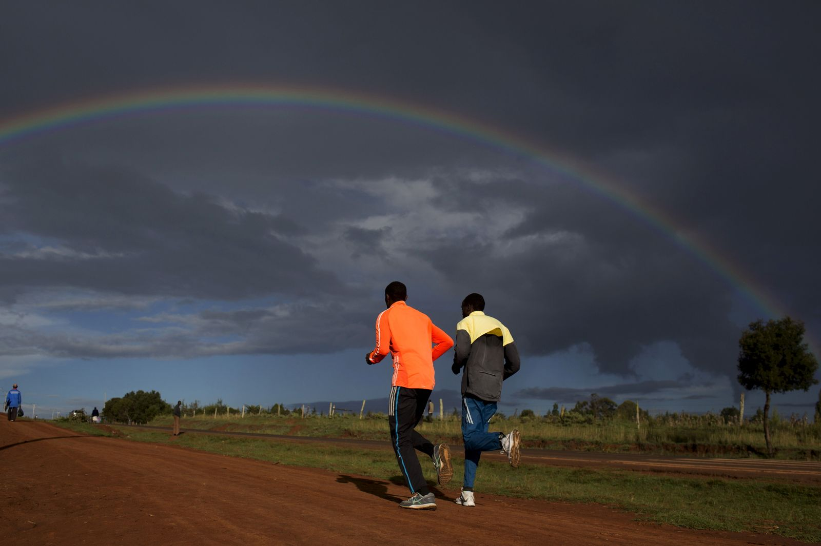 Athletes run during a training session near the town of Iten in western Kenya