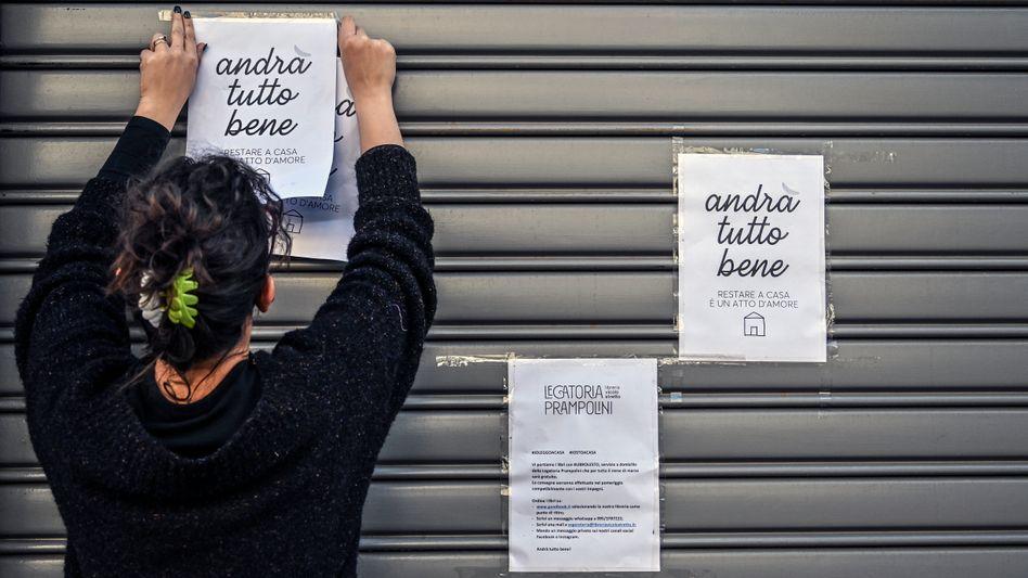 Wegen Corona geschlossen: Buchhandlung im italienischen Catania (Mitte März)