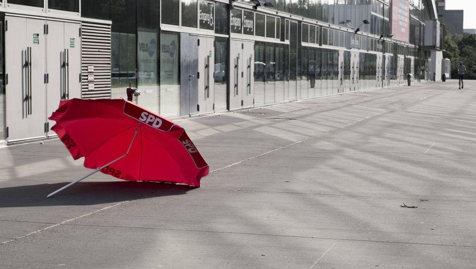 SPD-Wahlkampfmaterial mit Knick