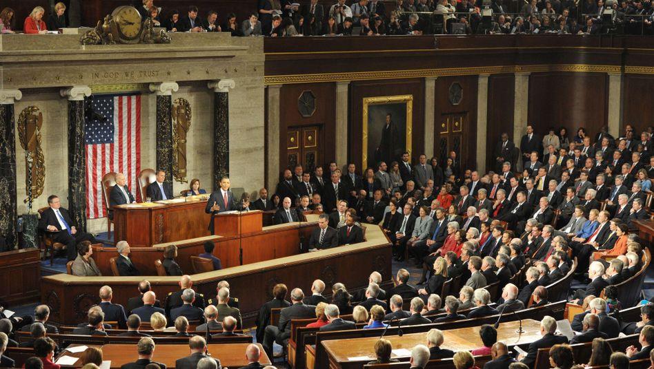 "US-Kongress (bei ""State of the Union""-Rede Barack Obamas): Krise gut überstanden"