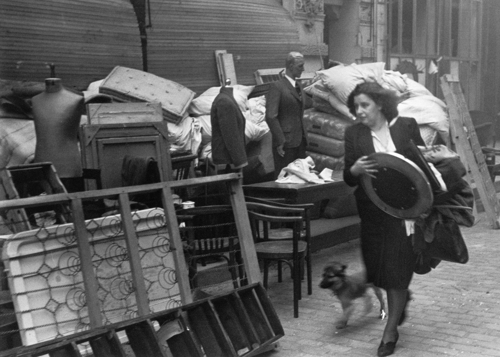 Am Morgen nach einem schweren Luftangriff der Alliierten - eine Frau mit Hund