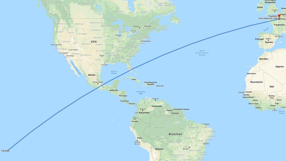 15.760 Kilometer: die Luftlinie zwischen Paris und Tahiti