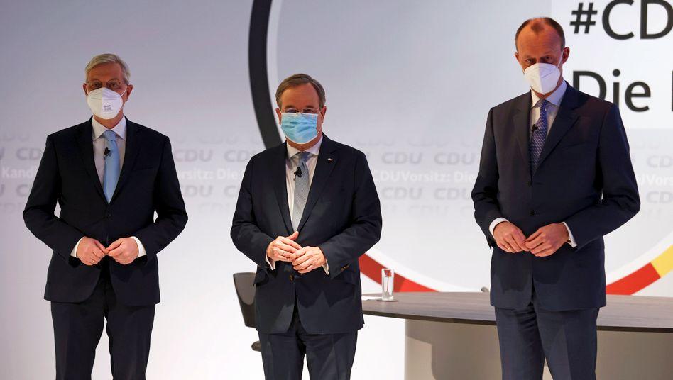 Die Spitzenkandidaten im Rennen um den CDU-Vorsitz von links nach rechts: Norbert Röttgen, Armin Laschet und Friedrich Merz