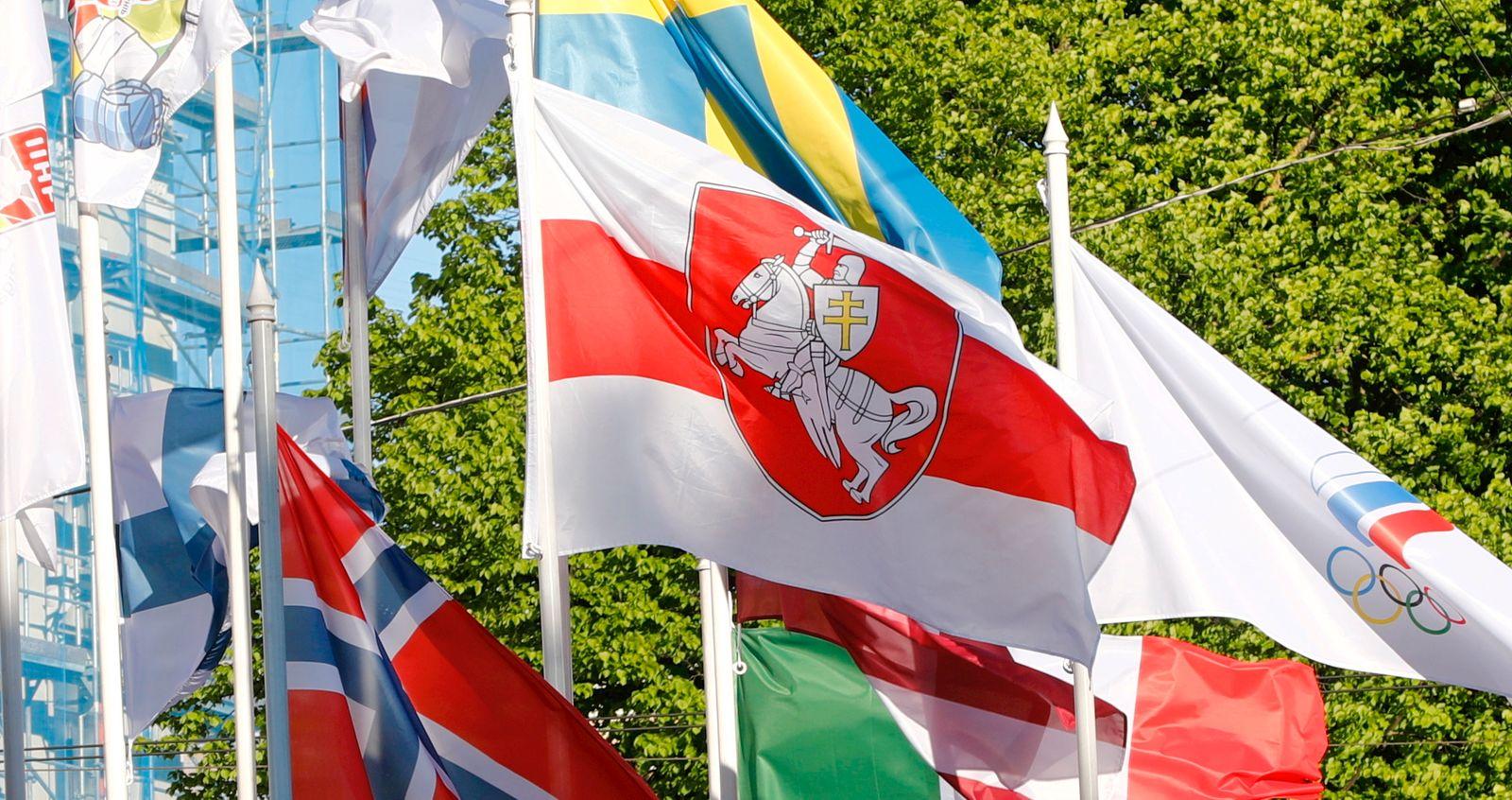 Belarusian opposition flag at IIHF World Ice Hockey Championships in Riga