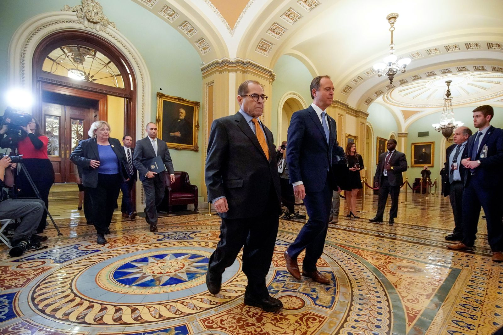 House managers arrive for the procedural start of Senate impeachment trial of President Trump in the U.S. Capitol in Washington